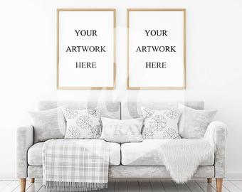 2 Panel Frame Mockup, Light Wood Frame, Styled Stock Photograpy, Scandinavian Style Interior, PSD Mockup, Digital Item, Modern Design
