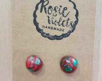 Christmas polymer clay stud earrings