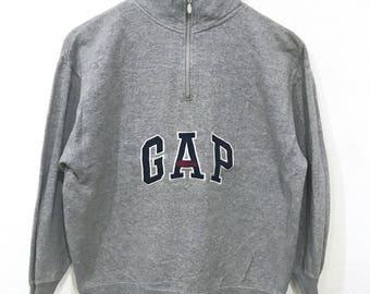 Rare! Gap Athletics Big Logo Embroidery Half Zipper Sweatshirt