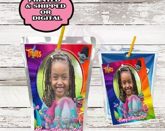 Trolls Juice pouch labels- CapriSun labels-Trolls birthday party-Juice pouch- Printable-Digital-Printed