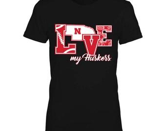Nebraska Cornhuskers T-shirt For Women - Love My Huskers - Gildan Women's T-shirt - Nebraska - Free Shipping - Officially Licensed Apparel