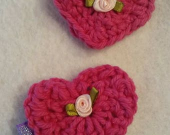 Valentine crochet heart clip