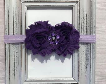 Purple headband, baby headband, shabby headband