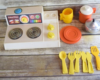 Vintage 1978 Fisher Price Stove Cook Top Magic Burners And Accessories