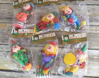 NEW Lot of Six Vintage Kurt Adler Santa's World Holiday Trim Clown Ornaments
