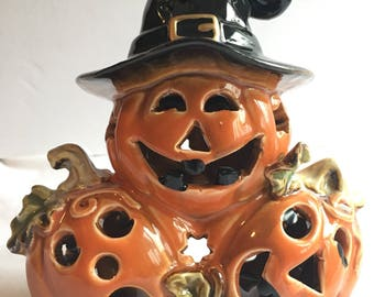 Trio of adorable pumpkin tealight voltire holder for Halloween decor