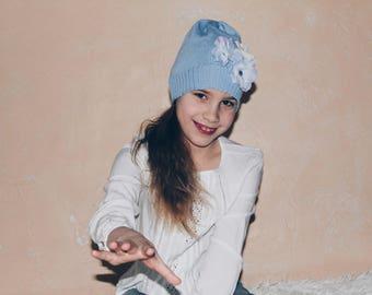 Toddler Girl Knit Hat, Baby Girl Beanie with Flower, Toddler Girls Winter Beanie, Knitted Hat for Girls, Merino Wool Girls Beanie Hat