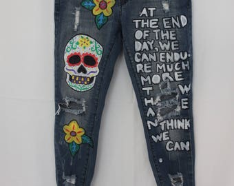 Day Of The Dead Hand-painted Jeans