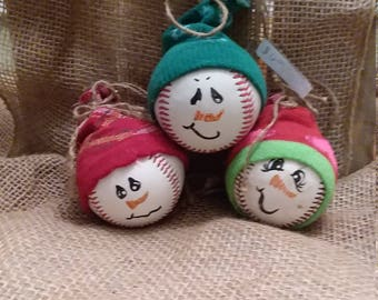 Baseball snowman ornaments