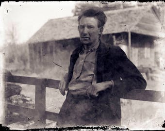 Antique Negative of Man at Log Cabin, Glass Negative from 1910s, Black & White Photo Negatives