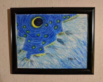 Northern Crescent-Framed Original Oil Pastel Drawing