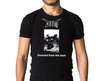 Doom Doomed From the Start: The Demo's Album 1999 Album Cover Black T-Shirt