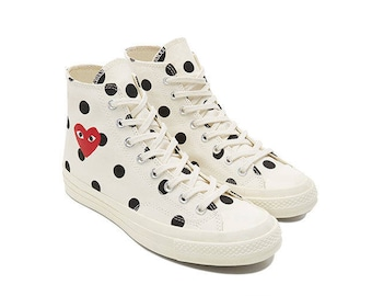 COMME des GARÇONS Play x Converse Polka Dot White High All Sizes Limited Edition