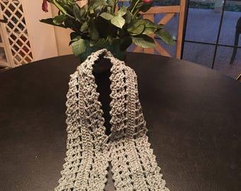 "Gray Crochet Handmade Scarf 47"" Long by 5"" Wide"