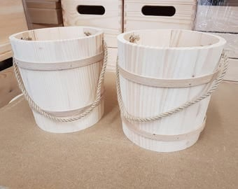 Set Two Wooden Buckets in Diameter 13 cm with Cord as a Handle