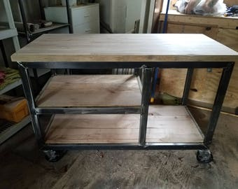 Industrial kitchen island | Etsy