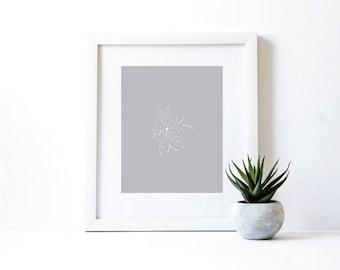 Grey Flower Print