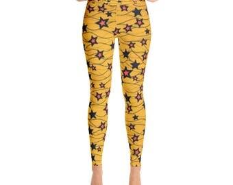 Star Yellow Yoga Leggings