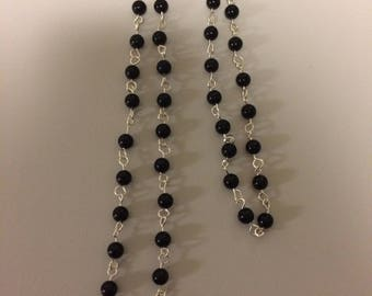 Onyx, Fluorite Semi-Precious Stone Serling Silver Plated Wire-Linked Necklace