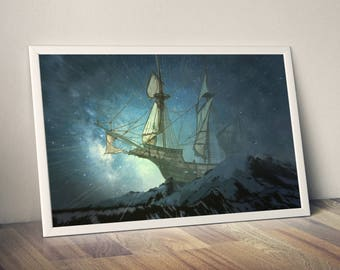 ghost ship, ghost art, ship art, ghost poster, ship poster, print, ghost, ship, poster, digital art, poster print, wall art, fantasy art