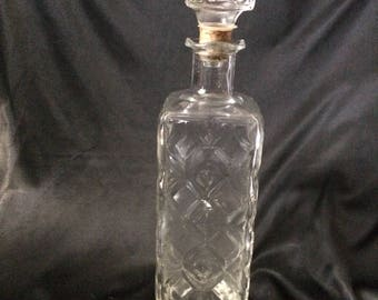 "Nice Vintage Glass Decanter With Diamond Pattern - 11 1/2"" Tall w/Stopper - Federal Law Forbids Sale or Re-Use of This Bottle"