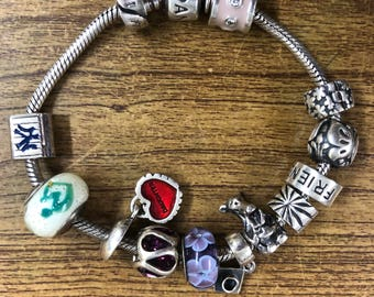 Pandora silver bracelet with charms