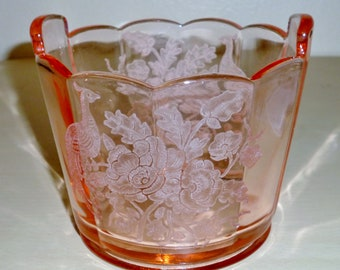 PADEN City Pink ICE BUCKET tub pail Peacock & Wild Rose Etch Elegant Glass Cheriglo