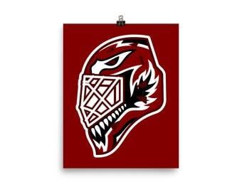 "Maroon ""92"" Goalie Mask Poster"