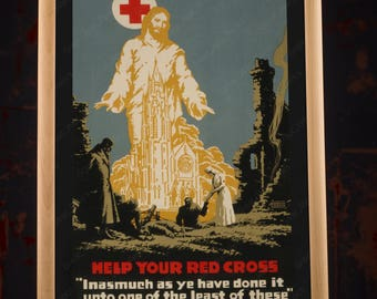 WW1 American Red Cross Propaganda Poster Reproduction, ww1 repro, ww1 replica, vintage red cross, red cross nurse, vintage nurse, nurse art