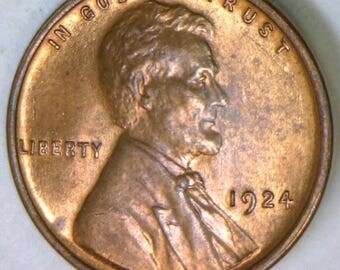1924 Lincoln Cent; Choice BU Red