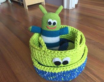 Crochet monster basket and toy boy sett