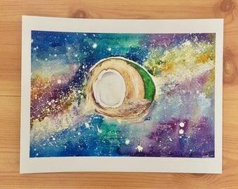 Coconut Milky Way Watercolor Painting Print