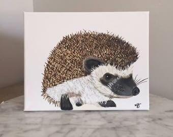 Original Hedgehog painting on canvas, hedgehog art, minimalist hedgehog, hedgehog painting