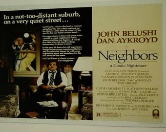 Neighbors (1981) movie poster 11 x 17 John Belushi Dan Aykroyd suburban black comedy Cathy Moriarty The Blue Brothers Saturday Night Live