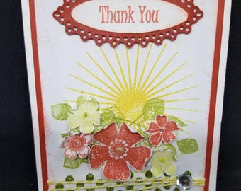 Thank you card, handmade card, 3d card