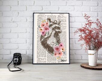 Anatomical heart floral - A3 Poster