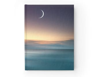Journal  Blank Featuring The Moon And Ocean