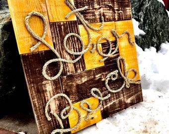 "Reclaimed, Pallet, Pallet Wood, Distressed, Wood Art, Wall Art, Western, Wyoming Cowboys, Man Cave, Guy Gift, Boy Gift, ""Let 'er Buck"""
