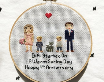 Linen Anniversary Gift 4th Anniversary Gift for Her Completed Custom Cross Stitch People Family Portrait Cross Stitch Family Gift for Wife