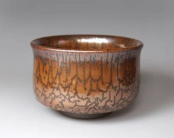 Dendritic Pattern/Glost-fired Earthen Tea Bowl;Handmade;Taiwan pottery;Japanese style;Ceramicware;Unique gifts;pottery;chawan,tea ceramony