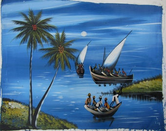 Paintings download,Fishing paintings prints,Peintures Africaines,Afrikanische Gemälde,African digital print,Dipinti africani