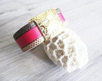 SOFIA Fuchsia leather bracelet