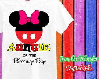 Auntie, Mickey Mouse Iron On Transfer, Iron On Mickey Mouse Shirt, Mickey Mouse Birthday Boy Auntie Iron On, Digital File, Instant Download