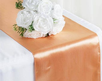 SALE FIVE Peach Satin Table Runners Coral Rose Wedding Table Setting Easter Sale Garden Cloth Satin Wholesale Baby Shower Bridal Cheap Party