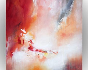 Abstract painting red magma