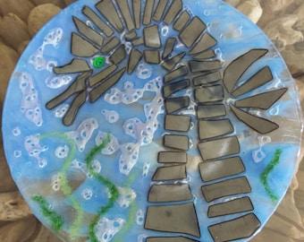 Fused Glassed Art Seahorse Plate