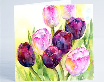 Queen of Night Tulips Flower Greeting Card by Sheila Gill