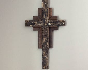 Mosaic Tile Cross Wall Art| Handmade of Brown Marble and Natural Wood| Home Decor | Religious Gift |Christian Wall Art| Easter Cross