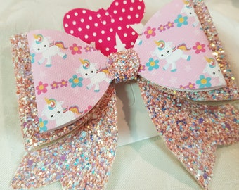 Girls Glitter Hair Bow Pink Unicorns