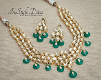 Indian necklace set, kundan necklace set, kundan polki jewelry,Indian Bridal Jewelry,Pakistani jewelry,green stone, Emerald stone, kundan